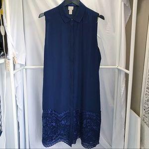Chico's Lace Hem Button Down Sleeveless Dress